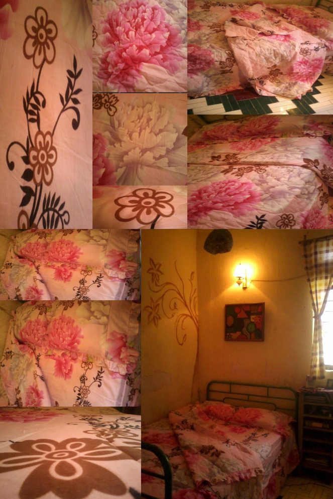 my pink flowers bed cover