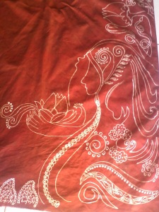 pola ini terispirasi dari siluet diri dengan membawa bunga rosella.. :D