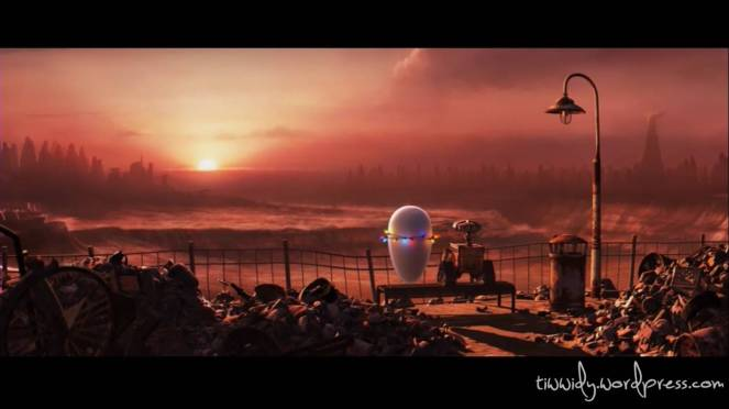 Romantic moment between EVE and Wall-E