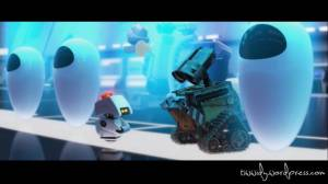 Wall-e in the new city in outer space