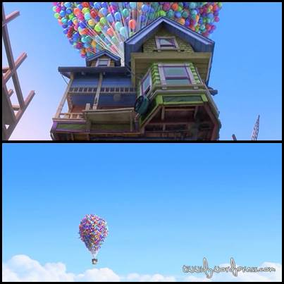 Carl's House was lifted and flied to Paradise Falls