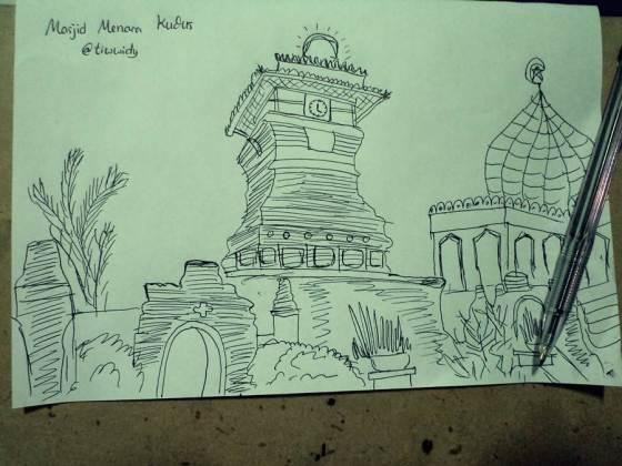 Minaret Kudus Mosque on sketch